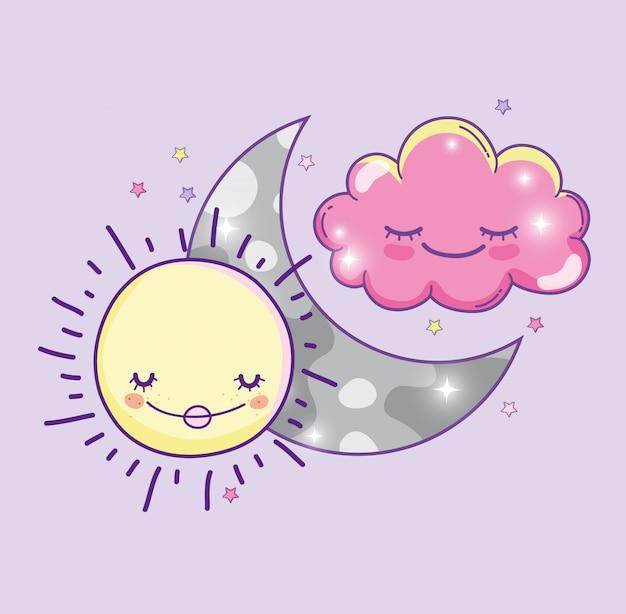 Szczęśliwy słońce z księżyc i śliczną puszystą chmurą Premium Wektorów