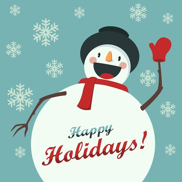 Szczęśliwy Snowman Wita Cię Premium Wektorów