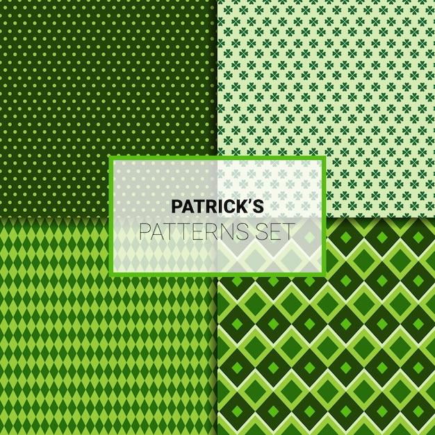 Szczęśliwy St. Patricks Day Bez Szwu Wzorów Ustawić Zielone Ozdoby Tło Premium Wektorów