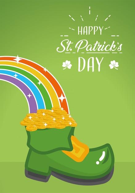 Szczęśliwy st patricks day kartkę z życzeniami, boot i tęczy plakat Darmowych Wektorów