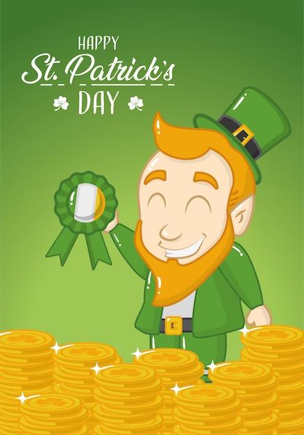 Szczęśliwy st patricks day kartkę z życzeniami, zielony krasnoludek z monetami Darmowych Wektorów