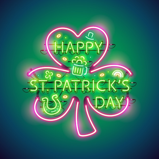 Szczęśliwy st patricks day neon sign Premium Wektorów