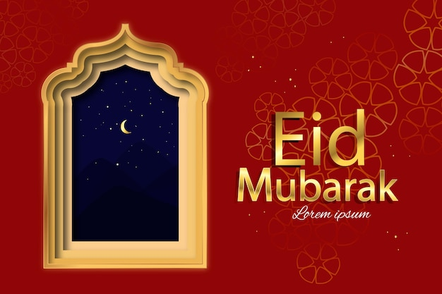 Szczęśliwy Styl Eid Mubarak Z Arabskim Oknem Darmowych Wektorów