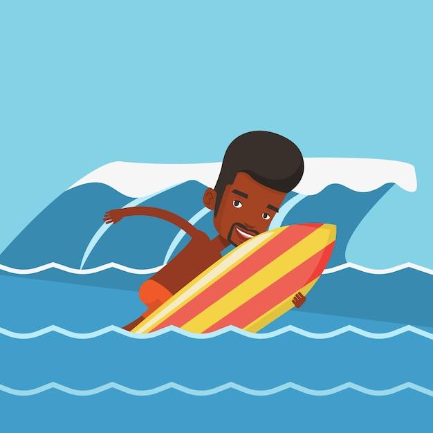 Szczęśliwy Surfer W Akcji Na Desce Surfingowej. Premium Wektorów