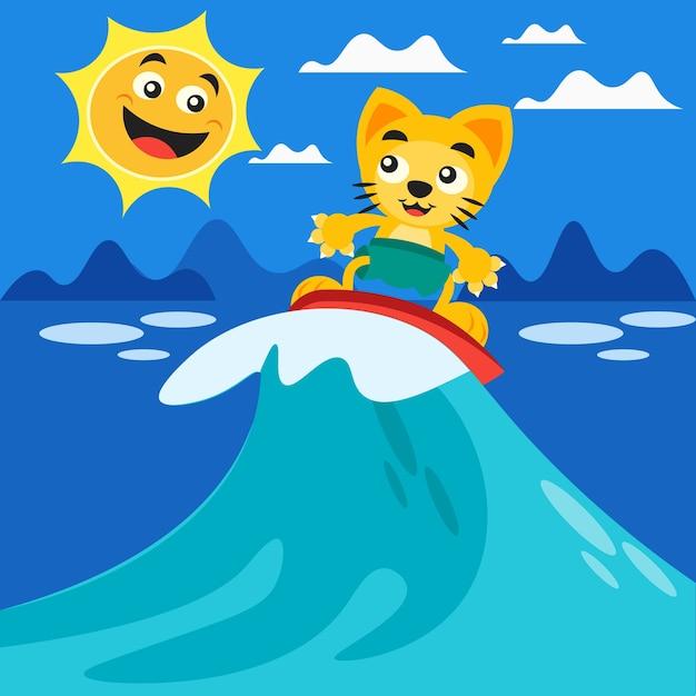 Szczęśliwy Surfing Cat I Uśmiechnięte Słońce Premium Wektorów