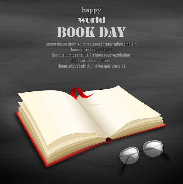 Szczęśliwy światowy dzień książki z pustą książką Premium Wektorów