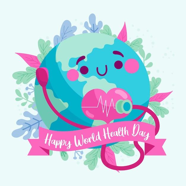 Szczęśliwy światowy Dzień Zdrowia Z Planetą Słuchającą Jego Serca Darmowych Wektorów