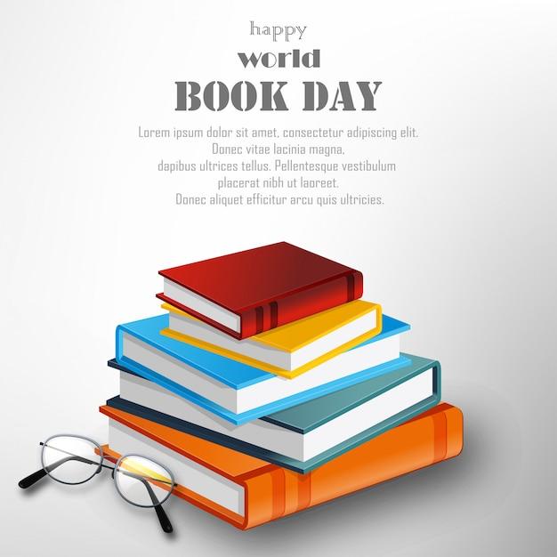 Szczęśliwy światowy książkowy dzień z stertą książki na białym tle Premium Wektorów