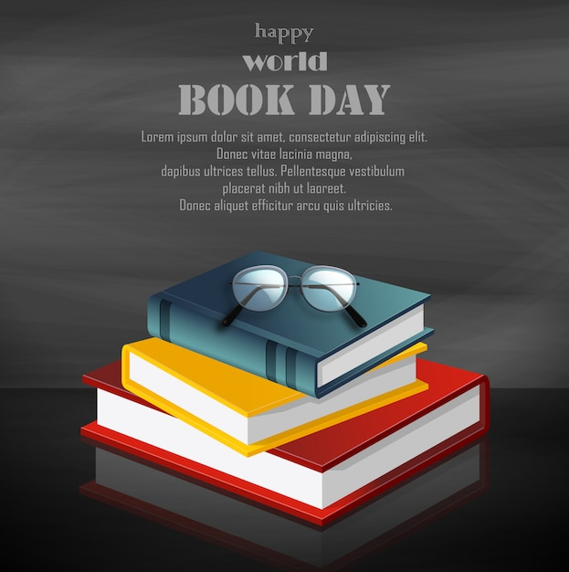 Szczęśliwy światowy książkowy dzień z stertą książki na czarnym tle Premium Wektorów
