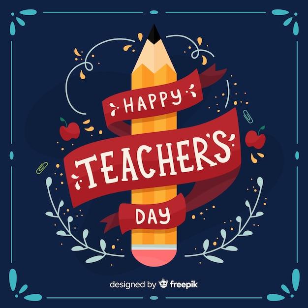 Szczęśliwy światowy nauczyciela dnia tło z literowaniem Darmowych Wektorów