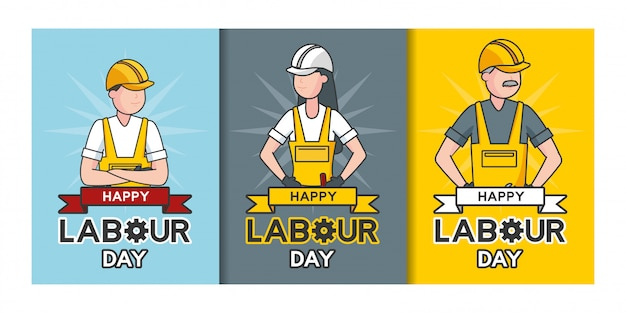 Szczęśliwy święto Pracy, Robotnicy, Set Robotnicy Ilustracyjni Darmowych Wektorów