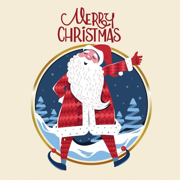 Szczęśliwy święty Mikołaj Mówi Wesołych świąt Premium Wektorów