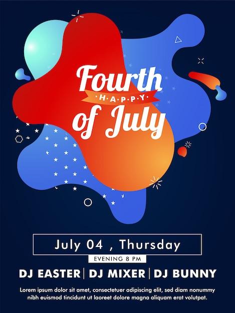 Szczęśliwy szablon karty czwartego lipca lub zaproszenie z tim Premium Wektorów