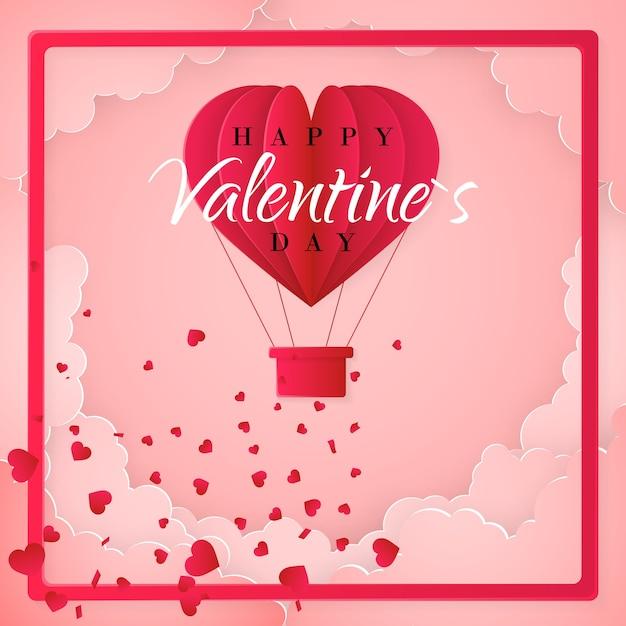 Szczęśliwy Szablon Karty Zaproszenie Walentynki Z Papierowym Balonem Origami W Kształcie Serca, Białe Chmury I Konfetti. Różowe Tło. Premium Wektorów