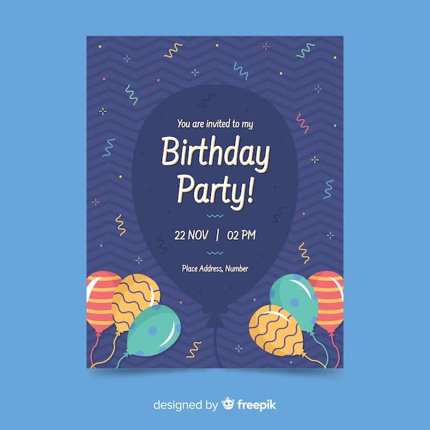 Szczęśliwy szablon zaproszenia na urodziny Darmowych Wektorów