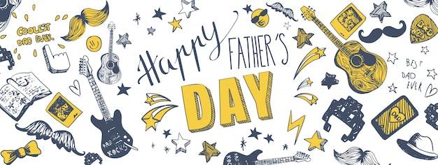 Szczęśliwy sztandar dnia ojca Premium Wektorów
