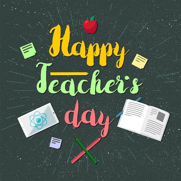 Szczęśliwy Sztandar Obchodów Dnia Nauczycieli Premium Wektorów