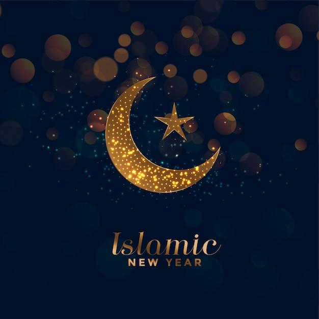 Szczęśliwy tło islamskie nowy rok z księżyca i gwiazdy Darmowych Wektorów
