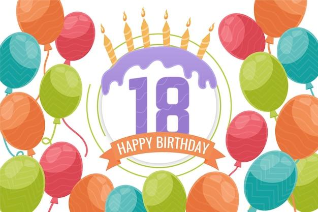 Szczęśliwy Tło Osiemnaste Urodziny Darmowych Wektorów