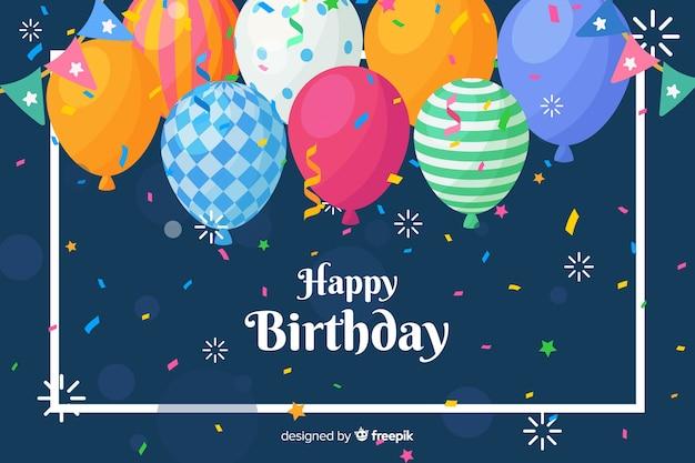 Szczęśliwy Tło Urodziny W Stylu Płaski Darmowych Wektorów