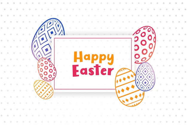 Szczęśliwy Tło Wielkanoc Z Ozdobnymi Jajkami Darmowych Wektorów