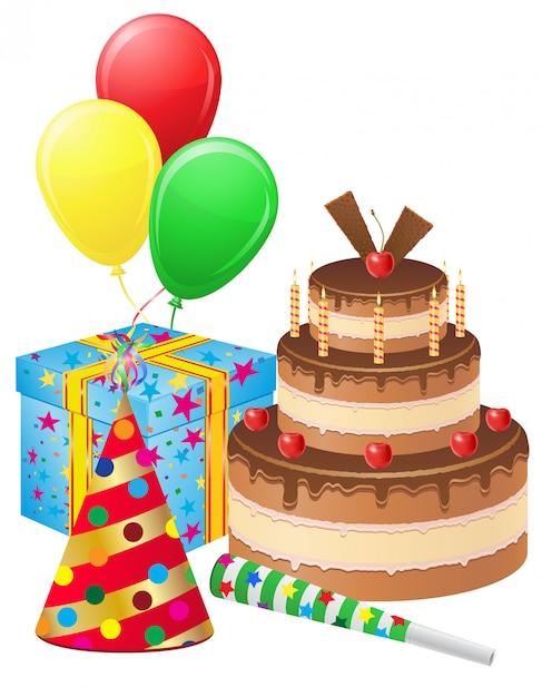 Szczęśliwy Tort Urodzinowy, Pudełko, Balony I Elementy Dekoracyjne Zestaw Ilustracji Wektorowych Premium Wektorów