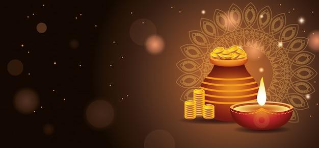Szczęśliwy transparent diwali indian celebration Premium Wektorów