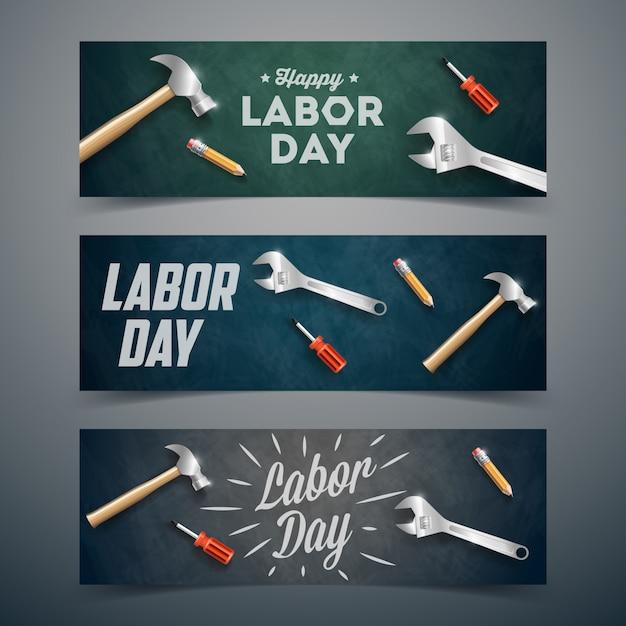 Szczęśliwy Transparent Dzień Pracy Premium Wektorów
