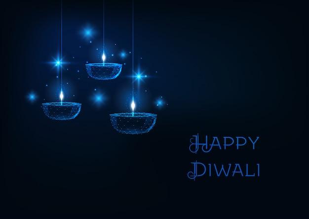 Szczęśliwy Transparent Internetowy Diwali Z Futurystycznym świecące Diya Wielokątne Lampy Naftowej Diya Na Ciemnym Niebieskim Tle. Premium Wektorów