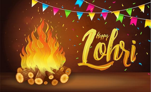 Szczęśliwy Transparent Lohri, Kartka Z życzeniami, Obchody Festiwalu W Pendżabie Premium Wektorów