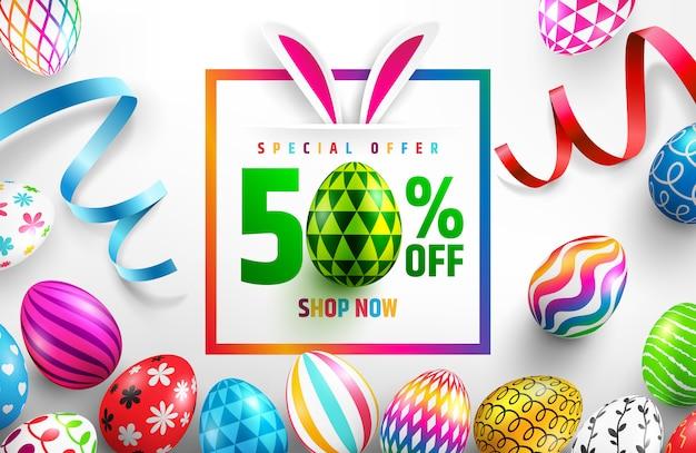Szczęśliwy Transparent Sprzedaż Wielkanocna Premium Wektorów