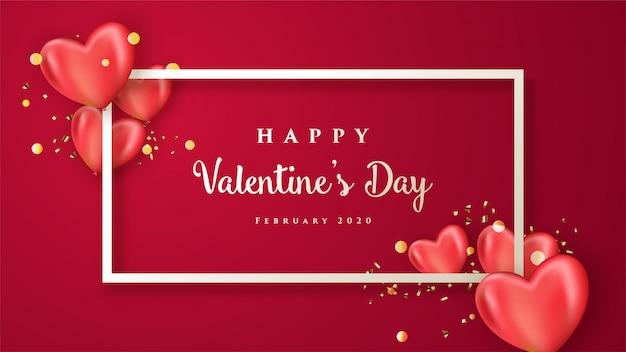 Szczęśliwy Transparent Walentynki Z Realistycznymi Sercami Premium Wektorów