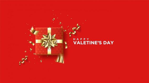 Szczęśliwy Transparent Walentynki Z Realistycznymi Sercami. Premium Wektorów