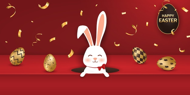 Szczęśliwy Transparent Wielkanocny Ze Złotymi Jajkami I Królik Premium Wektorów