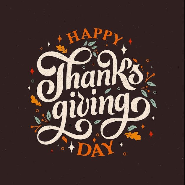 Szczęśliwy Typografia święto Dziękczynienia Premium Wektorów