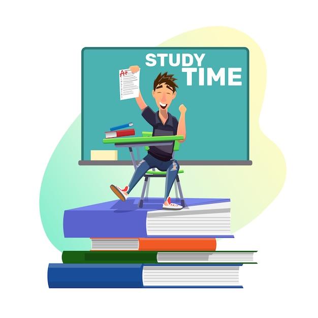 Szczęśliwy Uczeń Z Najlepszym Wynikiem Za Zadanie Premium Wektorów