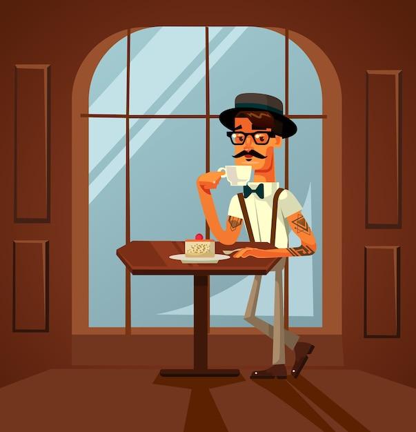 Szczęśliwy Uśmiechający Się Hipster Człowiek Charakter Jedzenie Ciasta I Picie Porannej Kawy W Kawiarni. Premium Wektorów