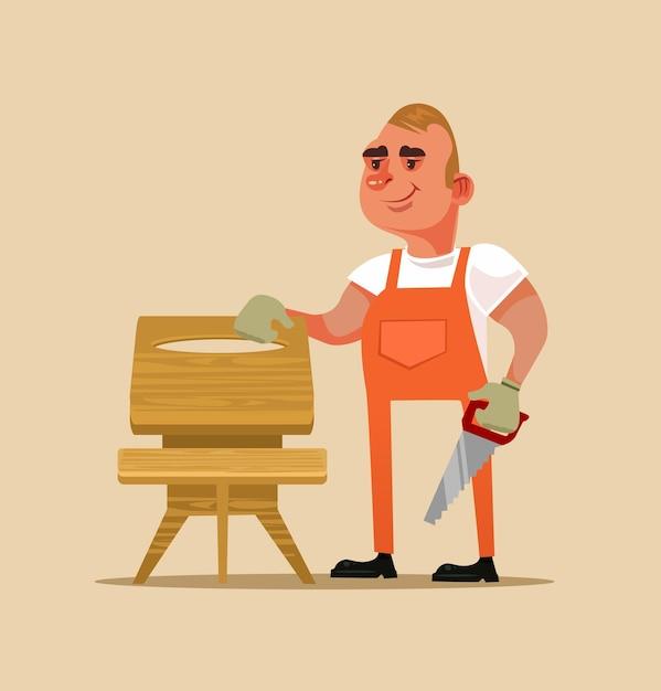 Szczęśliwy Uśmiechający Się Konstruktor Mebli Robotnik Człowiek Charakter Robi Drewnianym Stole. Ręcznie Wykonane Koncepcja Ilustracja Kreskówka Projekt Płaski Kreskówka Na Białym Tle Premium Wektorów