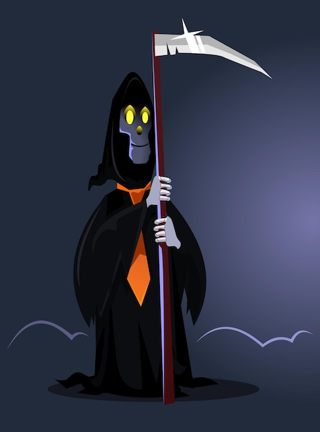 Szczęśliwy Uśmiechający Się Znak śmierci. Happy Halloween Koncepcja. Ilustracja Kreskówka Płaska Premium Wektorów