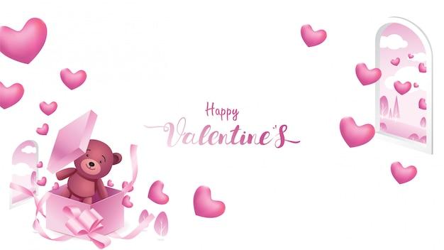 Szczęśliwy valentine's tło Premium Wektorów