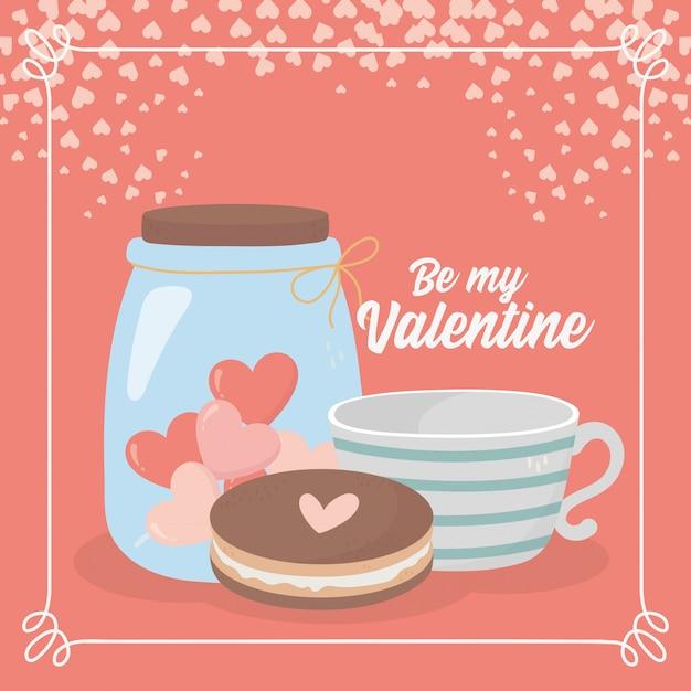 Szczęśliwy Walentynki Ciastko Filiżanka Kawy I Słoik Szklane Serce Miłość Karty Premium Wektorów