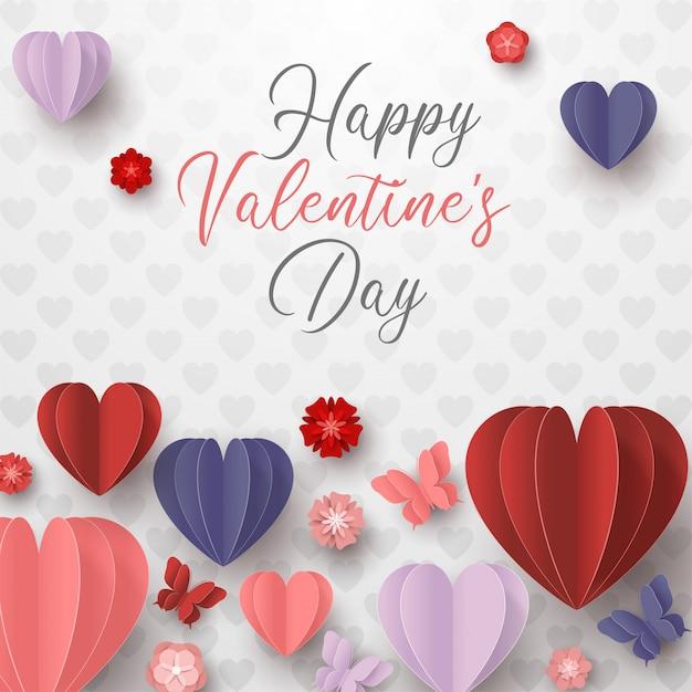 Szczęśliwy Walentynki Papieru Cięcia Styl Z Kolorowym Kierowym Kształtem W Białym Tle Premium Wektorów