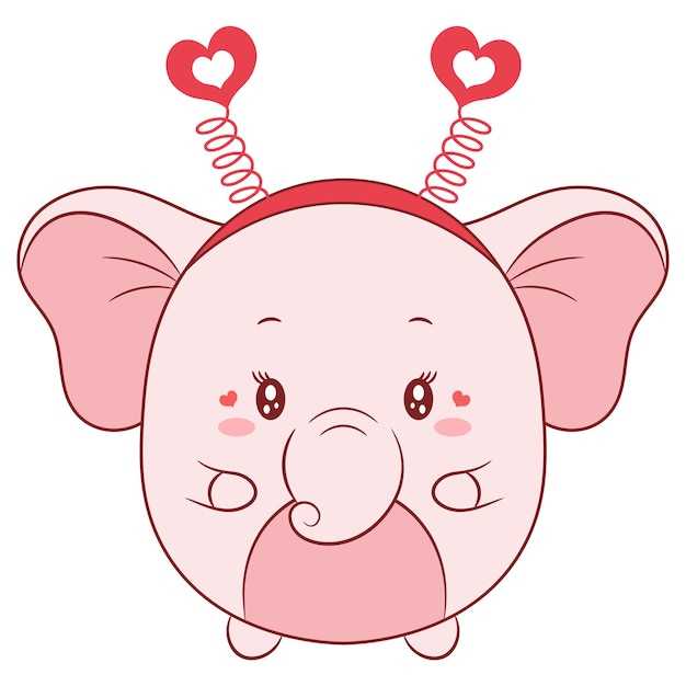 Szczęśliwy Walentynki Rysunek Słoniątka Premium Wektorów