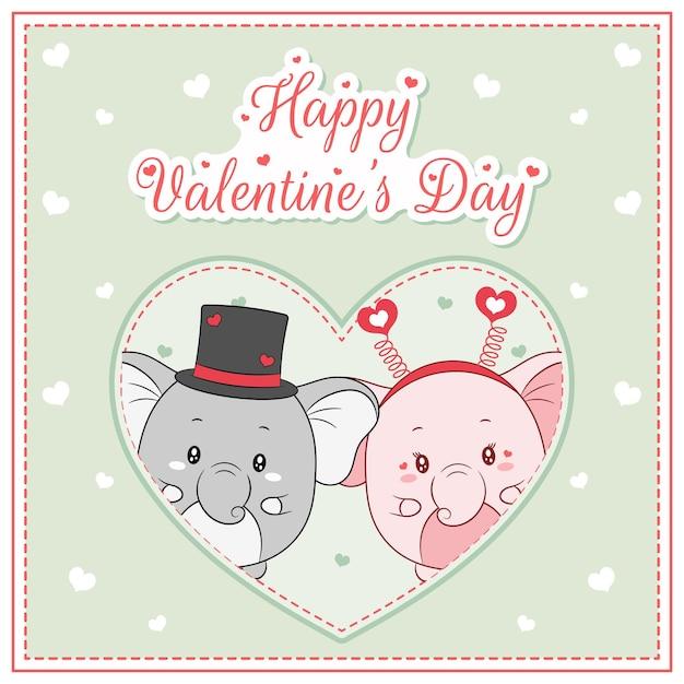 Szczęśliwy Walentynki Słodkie Słonie Rysunek Pocztówka Wielkie Serce Premium Wektorów
