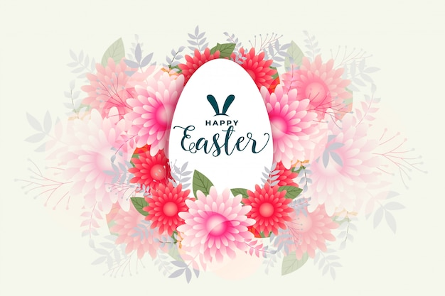 Szczęśliwy Wielkanoc Kwiat Styl Celebracja Karta Projekt Darmowych Wektorów