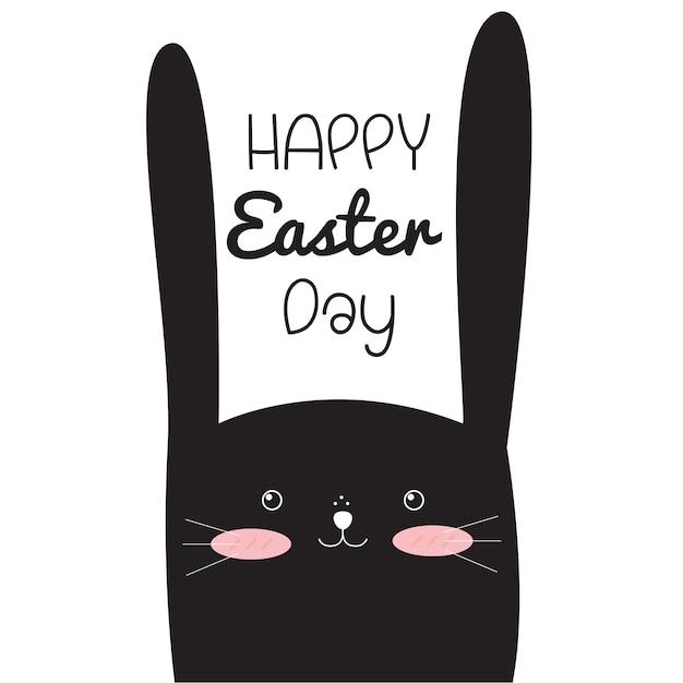 Szczęśliwy wielkanocny dzień z wielkanocnym królikiem. Premium Wektorów