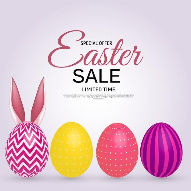 Szczęśliwy Wielkanocny Plakat Sprzedaż Premium Wektorów