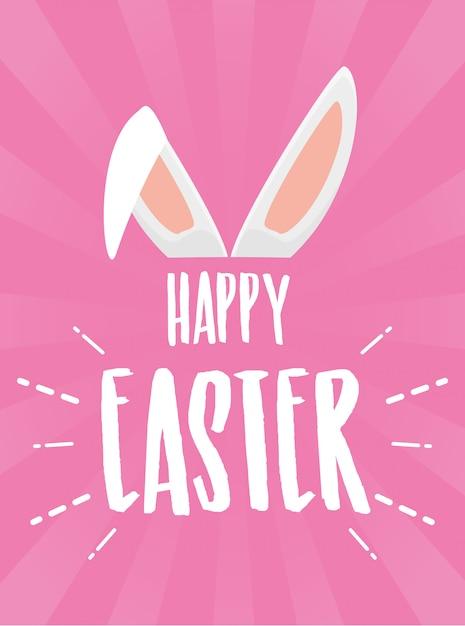 Szczęśliwy wielkanocny plakat z uszami królika na różowym kartkę z życzeniami Darmowych Wektorów