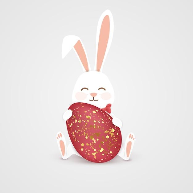 Szczęśliwy Zając Wielkanocny Z Czerwonym Jajkiem Premium Wektorów
