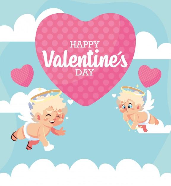 Szczęśliwych Walentynek Blond Amorków Bajki Z Sercem Premium Wektorów